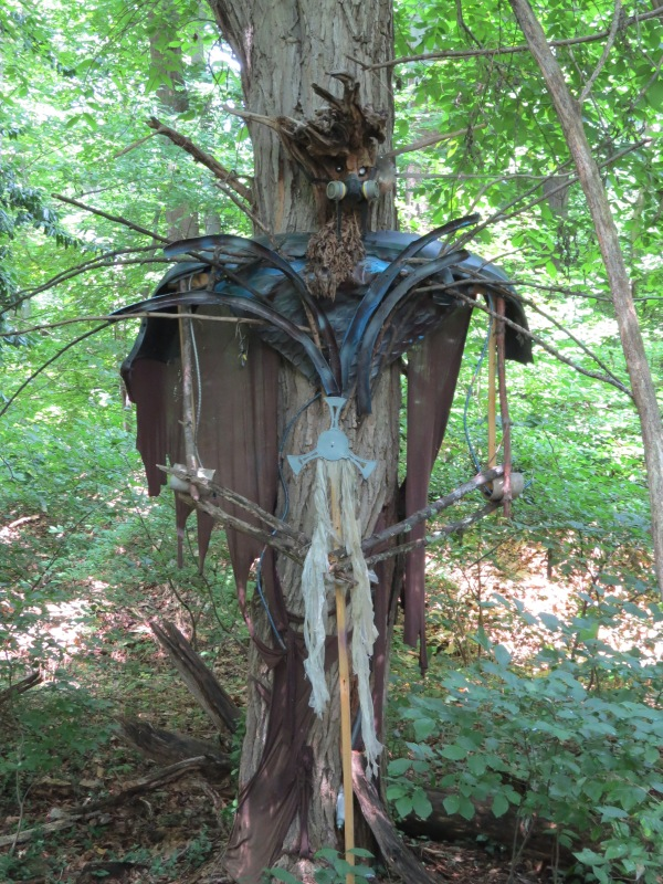 'Tree Herder' sculpture from recycled materials by Paul Rodriguez, found trailside @ Lake Roland, Balt County, Maryland, USA. © 2017 S. D. Stewart
